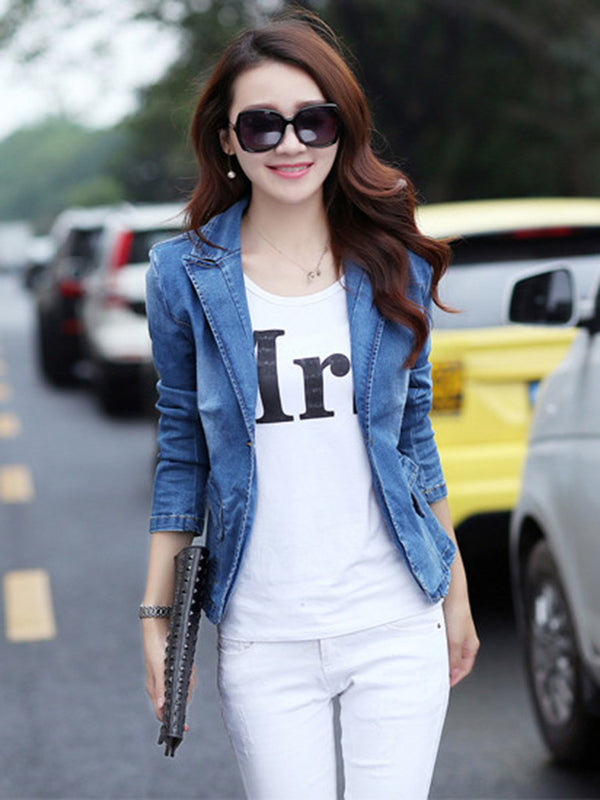 One Button Lapel Long Sleeve Standard Spring Casual Blazer