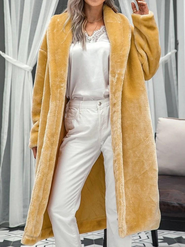 Regular Plain Long Straight Faux Fur Overcoat