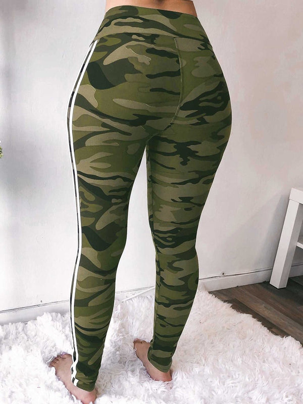 Skinny Camouflage Print Pencil Pants High Waist Casual Pants