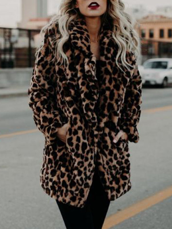 Mid-Length Leopard Straight Fall Faux Fur Overcoat
