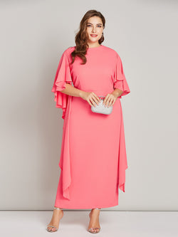 Round Neck Long Sleeve Mid-Calf Pencil Sweet Dress