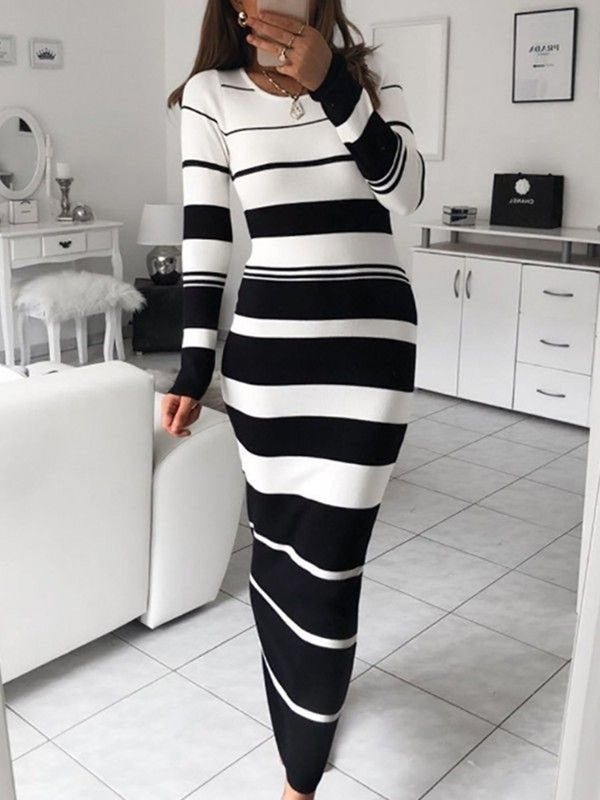 Ankle-Length Long Sleeve Round Neck Bodycon Regular Dress