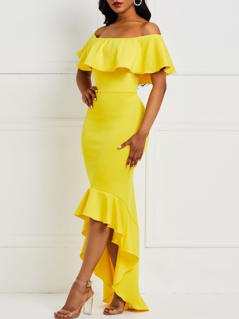 Off Shoulder Short Sleeve Floor-Length Party/Cocktail Asymmetrical Dress