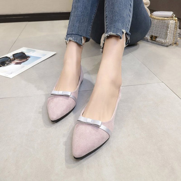 Bow Pointed Toe Slip-On Block Heel Plain Low-Cut Upper Thin Shoes