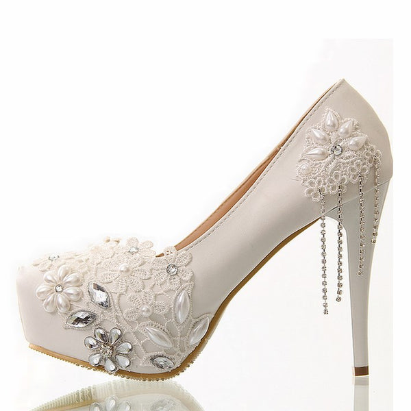 Stiletto Heel Lace Round Toe Slip-On 10cm Low-Cut Upper Thin Shoes