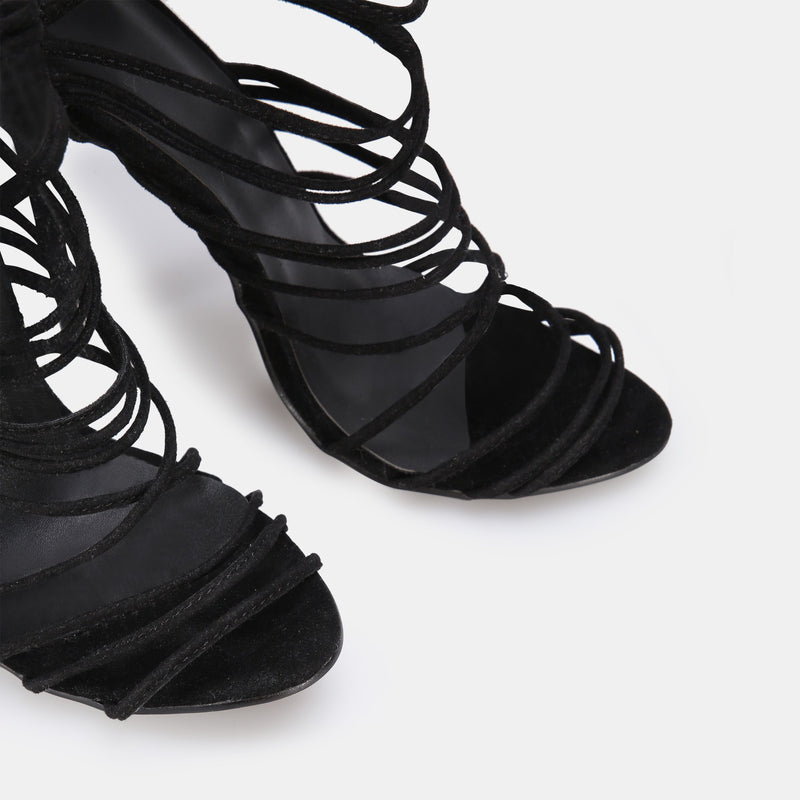 Lace-Up Stiletto Heel Open Toe Platform Plain Sandals