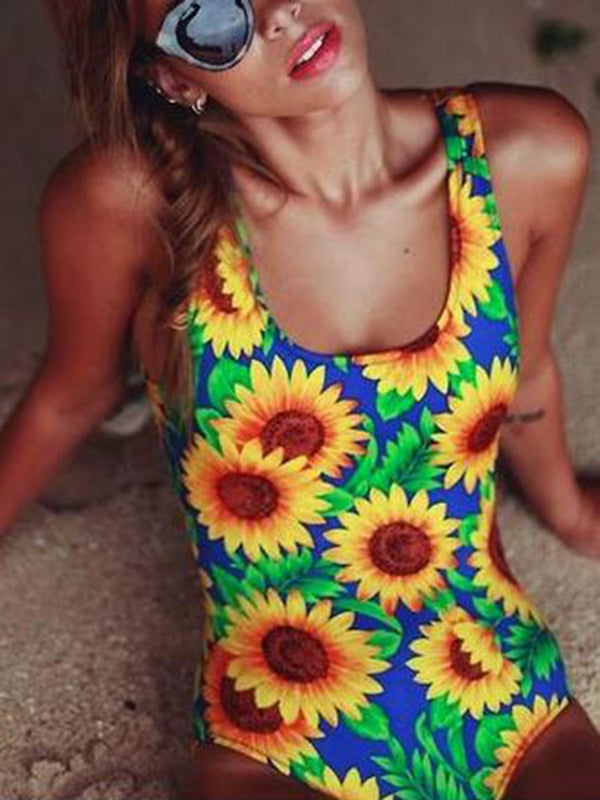 One Piece Bowknot Floral Swimwear