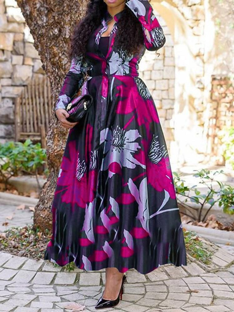 Print Long Sleeve Ankle-Length Expansion Pullover Dress
