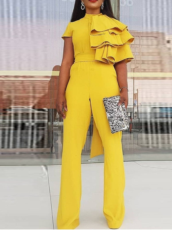 Full Length Falbala Plain Straight Slim Jumpsuit