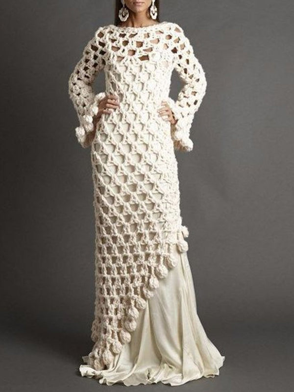 Floor-Length Hollow Round Neck Pullover Mermaid Dress