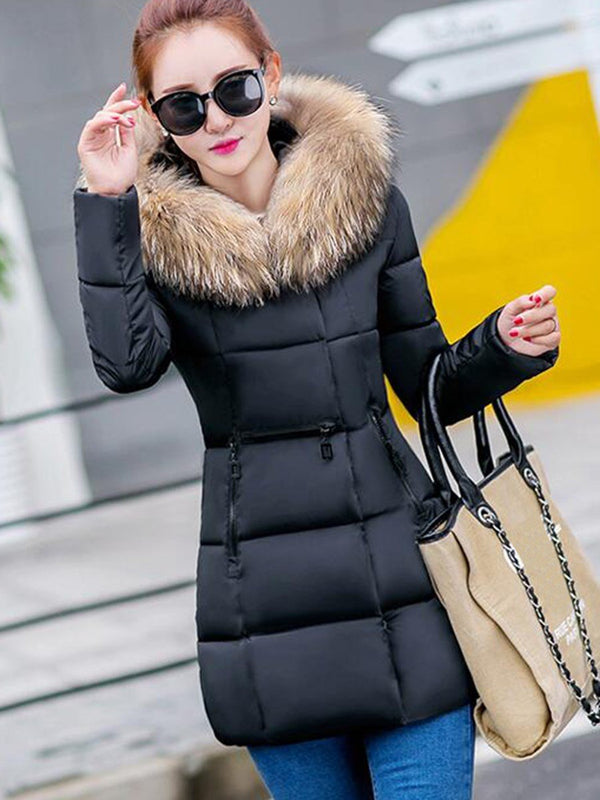 Thick Zipper Slim Mid-Length Cotton Padded Jacket