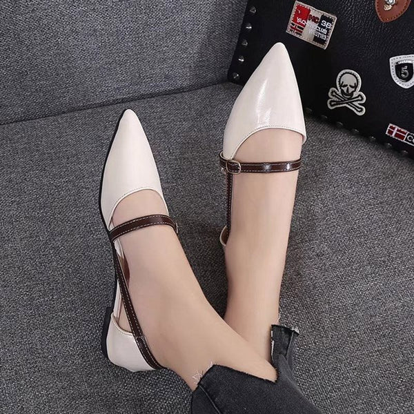 Pointed Toe Block Heel Buckle Slip-On Low-Cut Upper Casual Thin Shoes