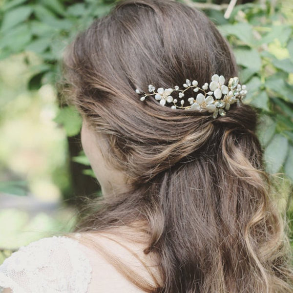 Plant Pearl Inlaid Hair Comb Anniversary Hair Accessories