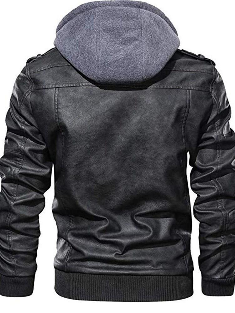 Hooded Standard Patchwork Fall Leather Jacket