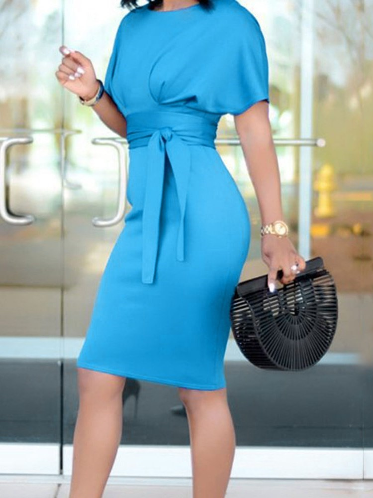 Short Sleeve Round Neck Lace-Up Pullover Plain Dress