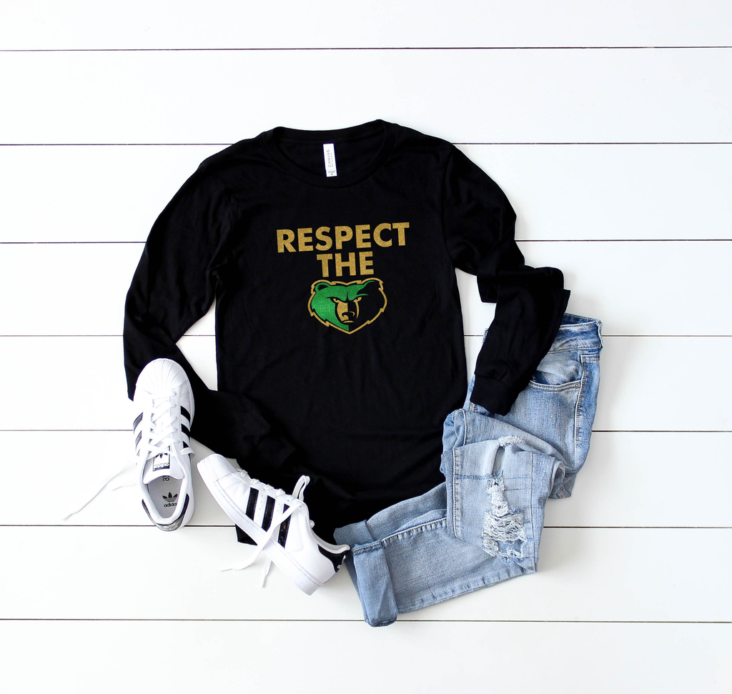 respect the bear long sleeve tee