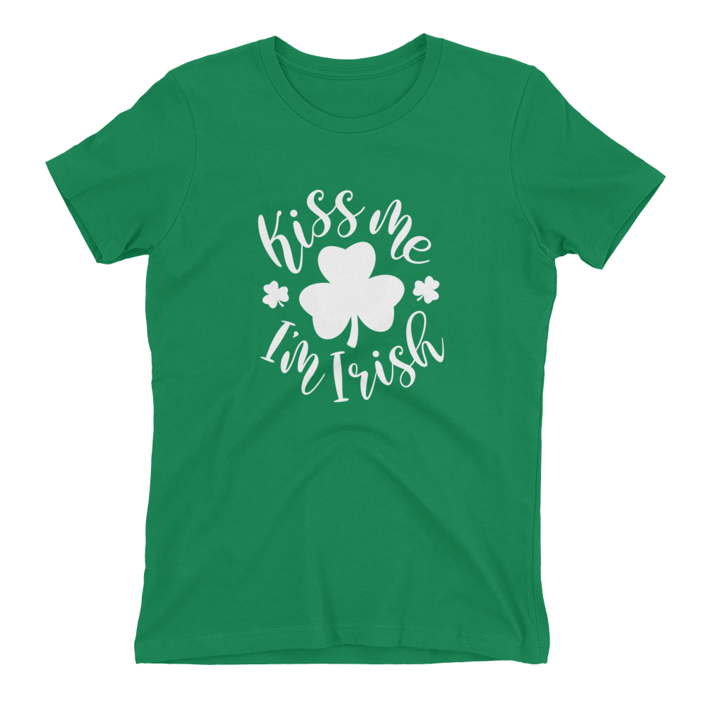 kiss me i'm irish ladies tee