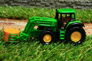 1379 SIKU 187 SCALE JOHN DEERE TRACTOR WITH LOADER AND ROUND BALE GRAB