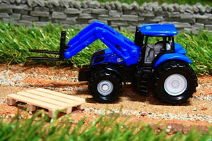 1487 SIKU 187 SCALE NEW HOLLAND TRACTOR WITH PALLET FORKS AND PALLET