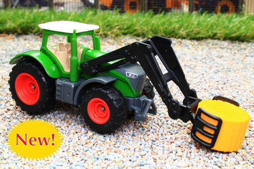 1539 SIKU 187 SCALE FENDT TRACTOR WITH FRONT LOADER AND ROUND BALE GRAB