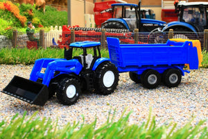 1630 SIKU 187 SCALE NEW HOLLAND TRACTOR WITH FRONT LOADER AND ALL PURPOSE MANURE SPREADER