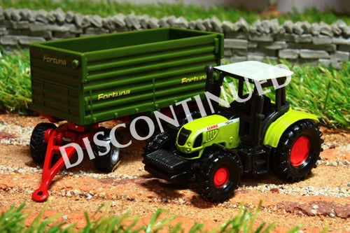 1634 SIKU 187 SCALE CLAAS TRACTOR WITH FORTUNA SIDE TIP TRAILER