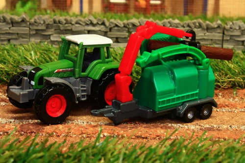 1675 SIKU 1:87 SCALE FENDT TRACTOR WITH WOOD CHIPPER