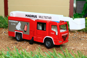 1749 Siku 187 Scale Magirus Multistar Fire Engine With Telescopic Mast Tractors And Machinery (1:87