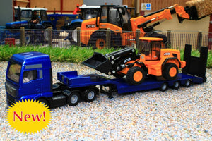 1790 SIKU 187 SCALE MAN LOW LOADER LORRY WITH JCB WHEELED LOADER