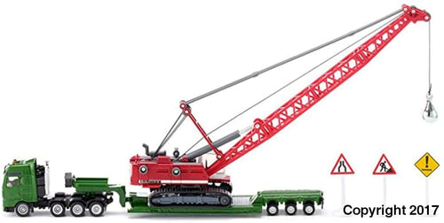 1834 Siku 1:87 Scale Heavy Haulage Transporter with Excavator and Road Signs