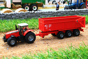 1844 SIKU 187 SCALE MASSEY FERGUSON TRACTOR WITH TRIPLE AXLE TIPPING TRAILER