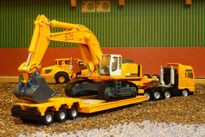 1847 Siku 187 Scale Man Low Loader With Liebherr Excavator Tractors And Machinery (1:87 Scale)