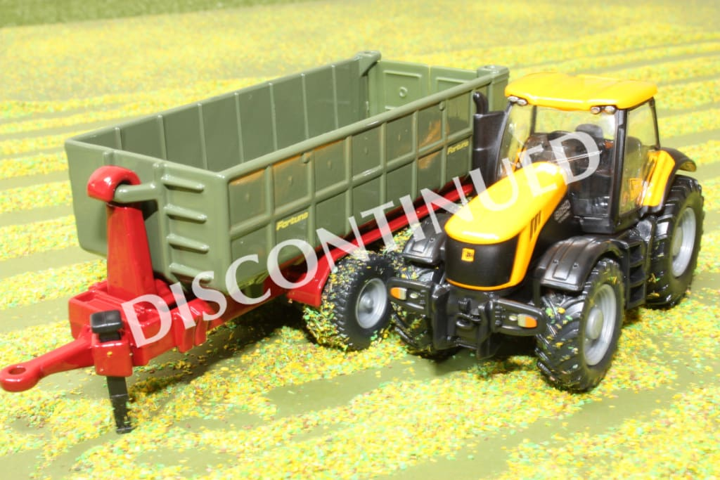1855 SIKU 187 SCALE JCB TRACTOR WITH HOOK LIFT TRAILER