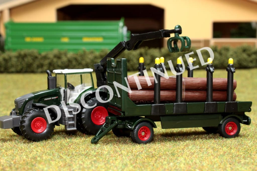 1861 SIKU 187 SCALE FENDT TRACTOR WITH LOG CRANE ABD FORESTRY TRAILER