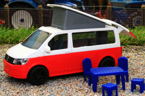 1922 SIKU 150 SCALE VW T6 TRANSPORTER CALIFORNIA CAMPER WITH ELEVATING ROOF AND ACCESSORIES