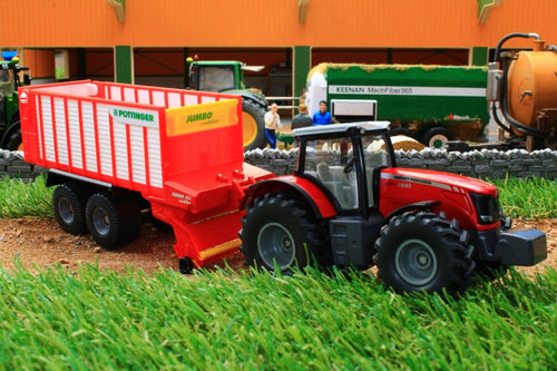 1987 SIKU 150 SCALE MASSEY FERGUSON 8690 TRACTOR AND POTTINGER JUMBO TRAILER