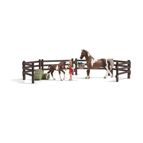 SL21049 Schleich Playset Horse, Foal and Figure with Fencing