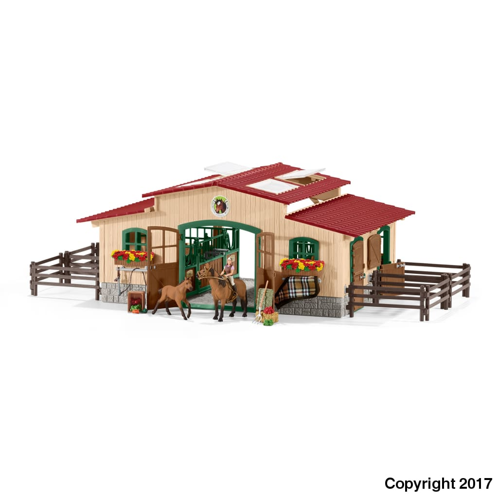 Sl42195 Schleich Stable With Horses And Accessories ** 10% Off Equestrian Department (All Scales)