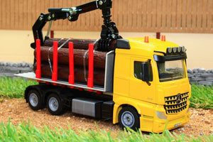 2714 Siku 150 Scale Mercedes Lorry Log Transporter With Grab Tractors And Machinery (1:50 Scale)
