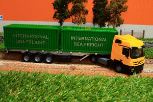 3921 Siku 150 Scale Mercedes Lorry With Containers X 2 Tractors And Machinery (1:50 Scale)