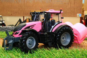 43247 BRITAINS PINK VALTRA TRACTOR PLAY SET INCLUDING BALE LIFTER AND TWO ROUND BALES