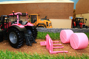 43247 Britains Pink Valtra Tractor Play Set Including Bale Lifter And Two Round Bales Tractors And