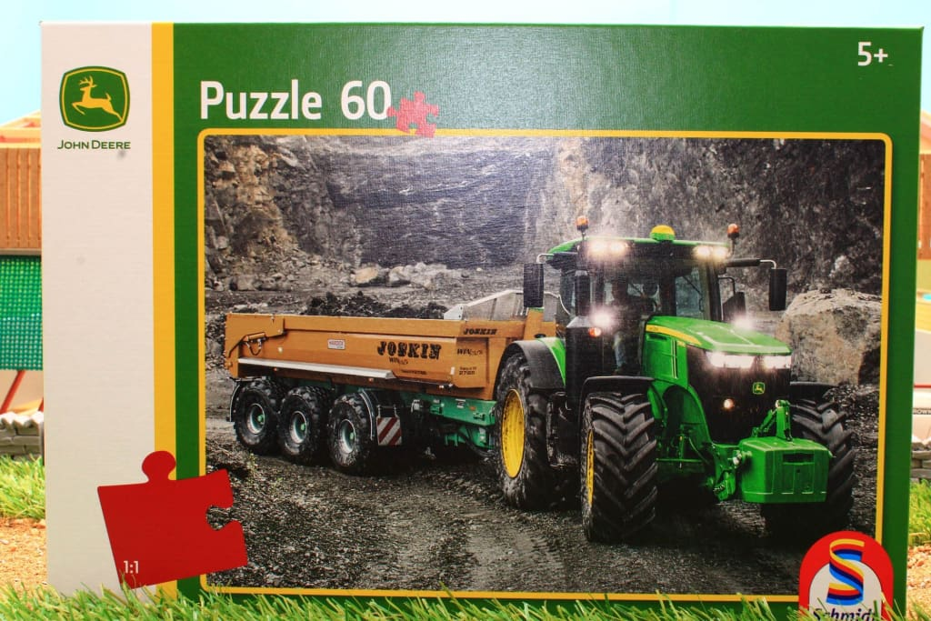 56314 SCHMIDT JIGSAW PUZZLE JOHN DEERE TRACTOR WITH JOSKIN TIPPING TRAILER 60 PCE