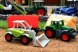 6304 SIKU 1:87 SCALE GIFT SET INCS FENDT TRACTOR CLAAS TELEHANDLER TRAILER AND BULK MATERIAL