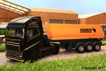 Load image into Gallery viewer, 6737 + 6734 SIKU RADIO CONTROLLED VOLVO FH16 LORRY WITH BLUETOOTH HAND CONTROLLER AND SCHMITZ CARGO BULL 3 AXLE TRAILER