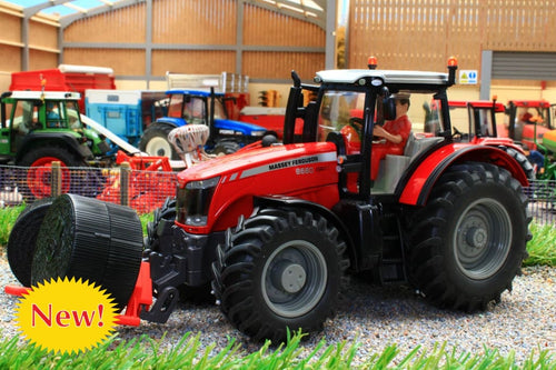 8614 SIKU MASSEY FERGUSON 8680 DYNASHIFT 4WD TRACTOR WITH DRIVER AND FRONT MOUNTED ROUND BALE LIFTER