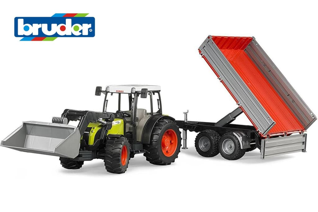 B02112 BRUDER CLAAS NEXIS 267F TRACTOR WITH FRONT LOADER AND TIPPING TRAILER