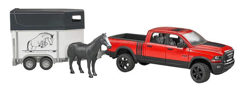 B02501 BRUDER RAM 2500 POWER WAGON WITH HORSE TRAILER AND HORSE