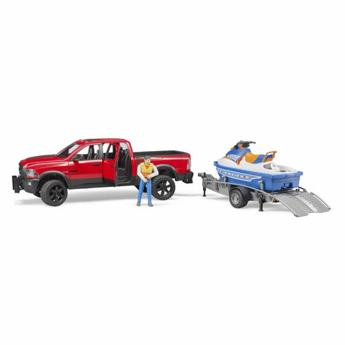 B02503 BRUDER RAM 2500 POWER WAGON PICK-UP TRUCK WITH TRAILER, PERSONAL WATER CRAFT AND FIGURE