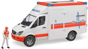 B02536 BRUDER MERCEDES BENZ SPRINTER AMBULANCE WITH DRIVER